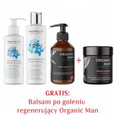 Zestaw AV Balsam do demakijażu twarzy, AV Balsam myjący do ciała, OM Balsam myjący do ciała + OM Balsam po goleniu GRATIS