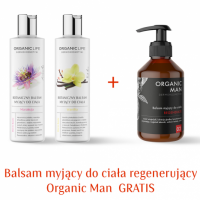 Zestaw balsamy myjące marakuja, wanilia + Balsam myjący do ciała Organic Man 2+1 GRATIS