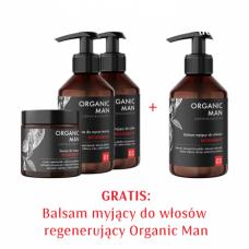 Zestaw męski Serum do twarzy, Balsam do mycia twarzy, Balsam myjący do ciała + Balsam myjący do włosów GRATIS