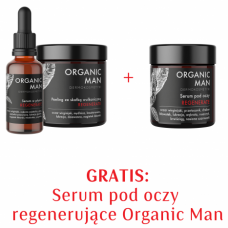 Zestaw męski regenerujący Serum w płynie, Peeling ze skałką + Serum pod oczy 2+1 GRATIS