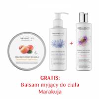 Zestaw Peeling cukrowy, Serum do ciała wyszczupla i ujędrnia + Balsam myjący Marakuja GRATIS