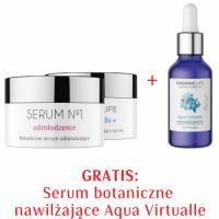 Zestaw Serum nr 1 Odmłodzenie, Krem na noc nawilżający + Serum botaniczne w płynie 2+1 GRATIS