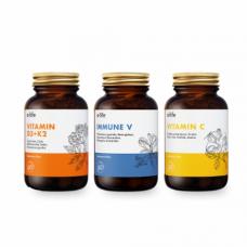 Zestaw wzmacniający odporność Immune V, Vitamin C z dzikiej róży, Vitamin D3 + K2